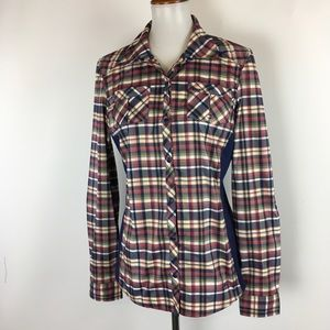 REI Snap Button Vented Shirt Plaid Stretch Sides